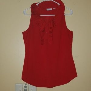 Red sleeveless New York & Co. blouse